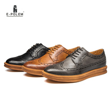 Men Leather Oxfords Shoes 2017 Spring Autumn Fashion British Brogue Mens Carved Casual Business Dress Hot Sale