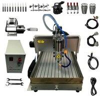 1500W 4 Axis CNC Router Engraving Milling Machine CNC 6040 USB 1.5KW Water Tank Hard Metal Wood Stone Cutting Machine