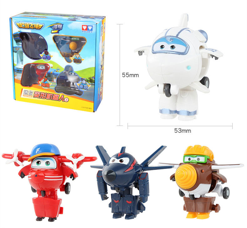 4pcs/set Super Wings Toys Mini Planes Model Transformation Airplane Robot Action Figures Boys Birthday Gift Brinquedos