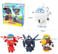 4pcs Set Super Wings Toys Mini Planes Model Transformation Airplane Robot Action Figures Boys Birthday Gift