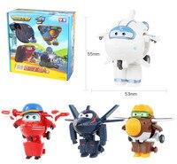 4 sztuk/zestaw Super Wings Zabawki Mini Samolot Samoloty Model Transformacja Robot Action Figures Prezent Urodzinowy Chłopców Brinquedos