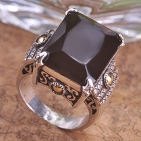 Blucome Classic Rhinestone Black Square Rings For Men Women Royal Steampunk Accessories Antique Silver Plated Anniversary