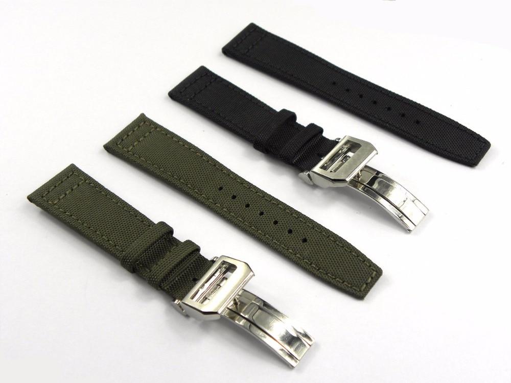 20 21 22mm Verde Negro Nylon Tela Cuero Banda Reloj Banda Cierre de acero para PILOT'S WATCHES / Portugieser PORTUGUESE