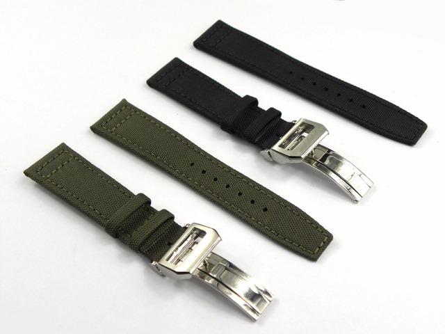 22mm (18mm fecho) Verde Tecido de Nylon Preto de Couro Banda Relógio de Pulso Cinto Cinta Banda Inoxidável 316L Fecho de Implantação Fivela de aço