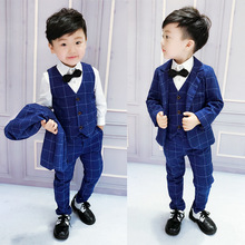 2018 childrens wear three-piece suit vest trousers  Fashion kids clothes Plaid children causal Boys outfits ALI 331