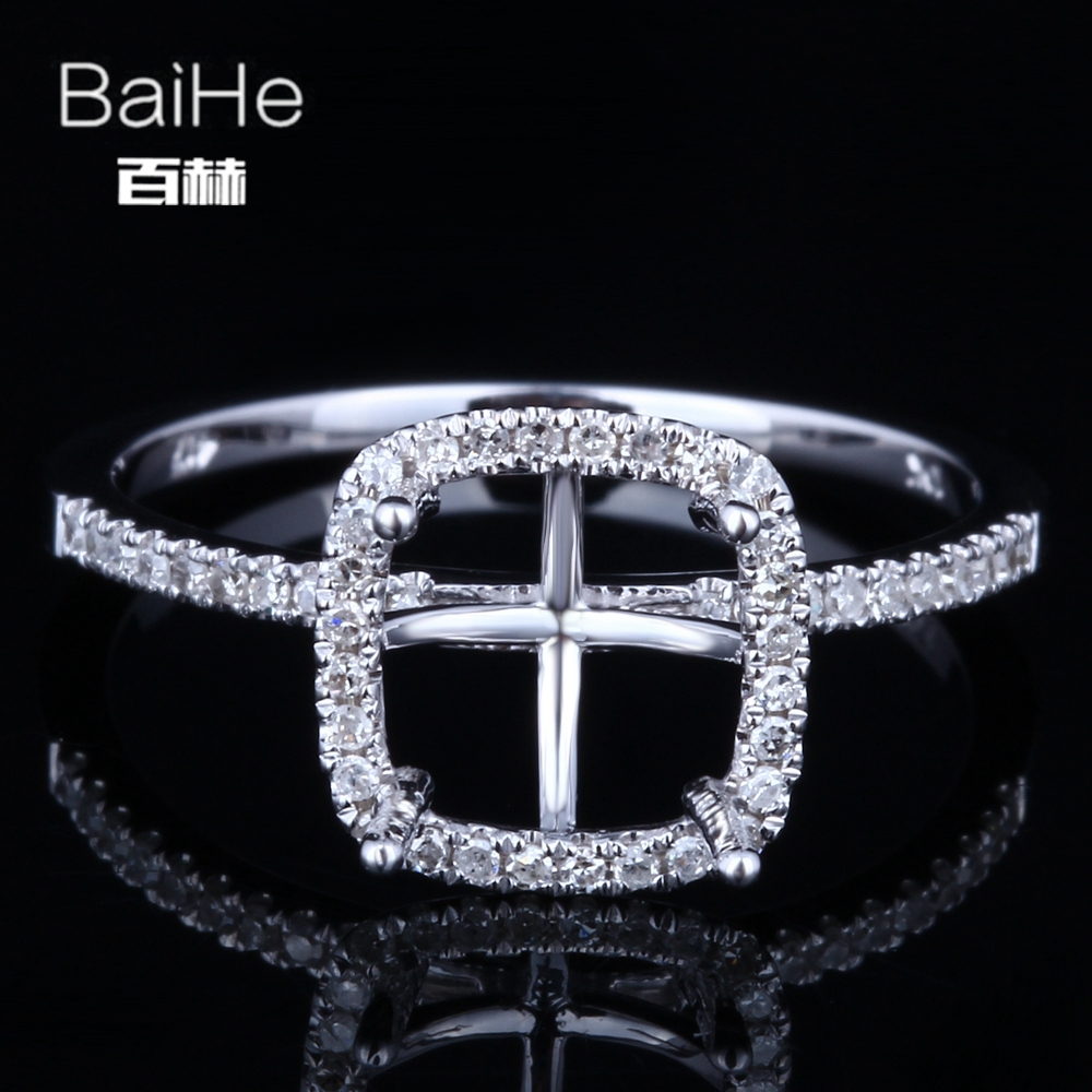 Fine Jewelry Independent Baihe Solid 14k White Gold Certified Cushion Cut Engagement Women Cute/romantic Fine Jewelry Elegant Unique Semi Mount Ring