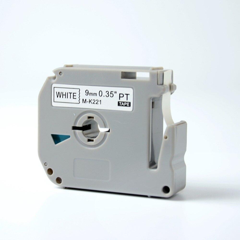 5pcs Mixed Colors black on white compatible p touch m series thermal tape 9mm for k221 M-k621 M-K421 M-K521 M-K721