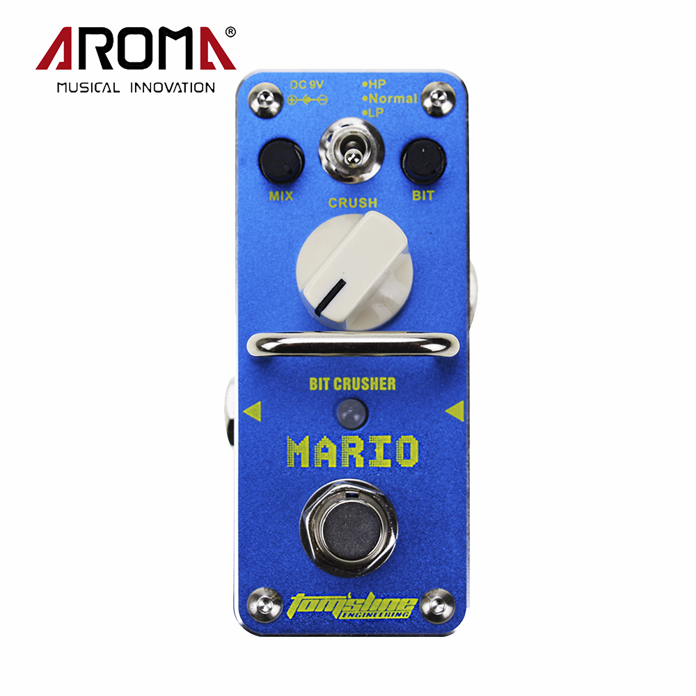 AROMA AMO-3 Mario Bit Crusher Electric Guitar Effect Pedal With True Bypass Guitarra Parts & Accessories aroma aos 3 octpus polyphonic octave electric guitar effect pedal mini single effect with true bypass
