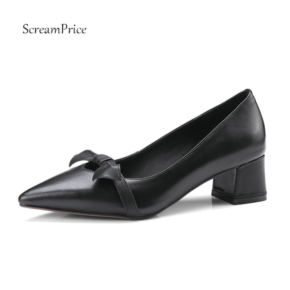 Women Genuine Leather Slip On Sweet Bow Knot Lazy Shoes Comfortable Square Heel Shallow Party Women Pumps Black Beige цена