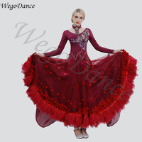 custom woman feather Morden National Standard Dancing Dress ballroom dresses waltz big costume 9colors