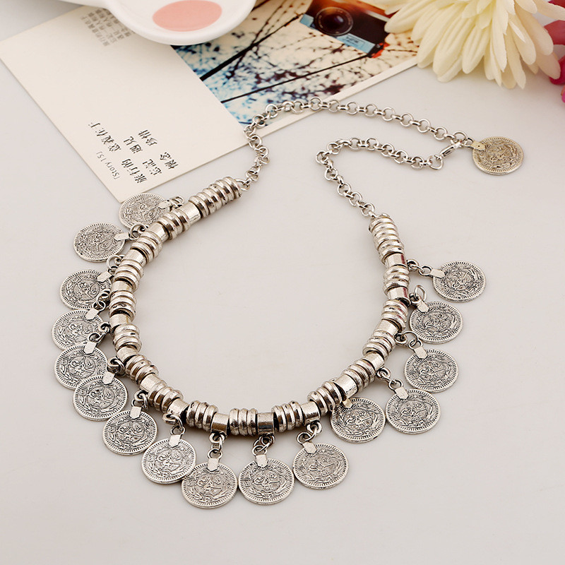 Bohemian Ethnic Antalya Silver Turkish Gypsy Boho Coachella Beach Choker Bib Carved Coin Necklace Jewelry Wholesale 6Pcs