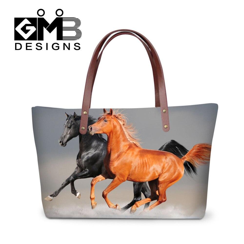 aea1b34a0732 Для женщин Сумки на плечо животных печати Сумки дамы пляжная сумка Лошадь  большая сумка большой Ёмкость Хозяйственные сумки Bolsa Femininas