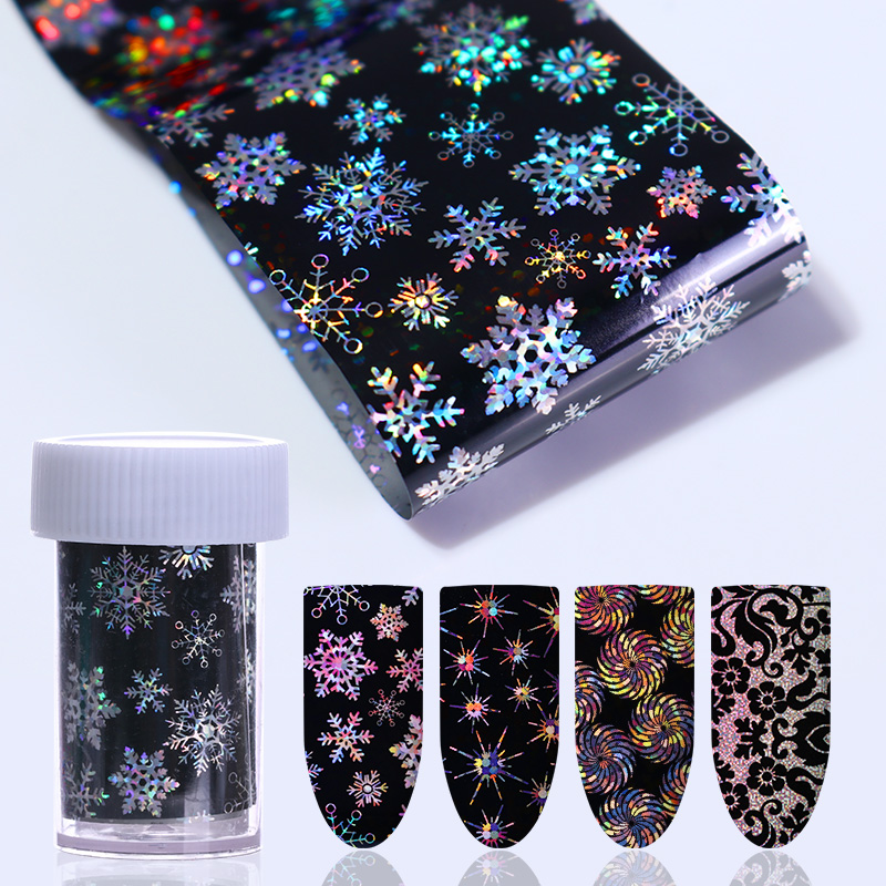 4*100cm Flower Lace Holographic Starry Nail Foil Christmas Snowflake  Winter Star Rose Nail Art Transfer Sticker Manicure Decal gold holographic nail wraps adhesive laser flower leaf star circle full 3d nail sticker