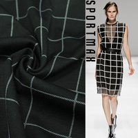 Italian Black Contracted Plaid Fabrics Knitted Fabric Play Fashion Skirt Suit Material Milan Runway Looks All