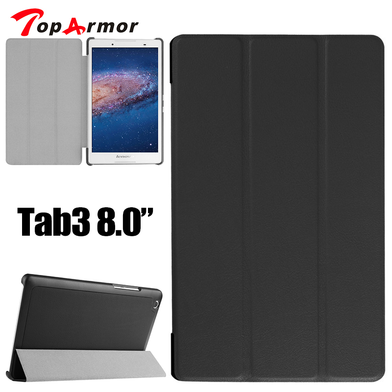 TopArmor Leather case for Tablet TB3-850M Case Flip Cover For Lenovo Tab3 Tab 3 8 inch Tablet case Tab2 A8 A8-50F Slim case ultra slim case for lenovo tab 2 a8 50 case flip pu leather stand tablet smart cover for lenovo tab 2 a8 50f 8 0inch stylus pen