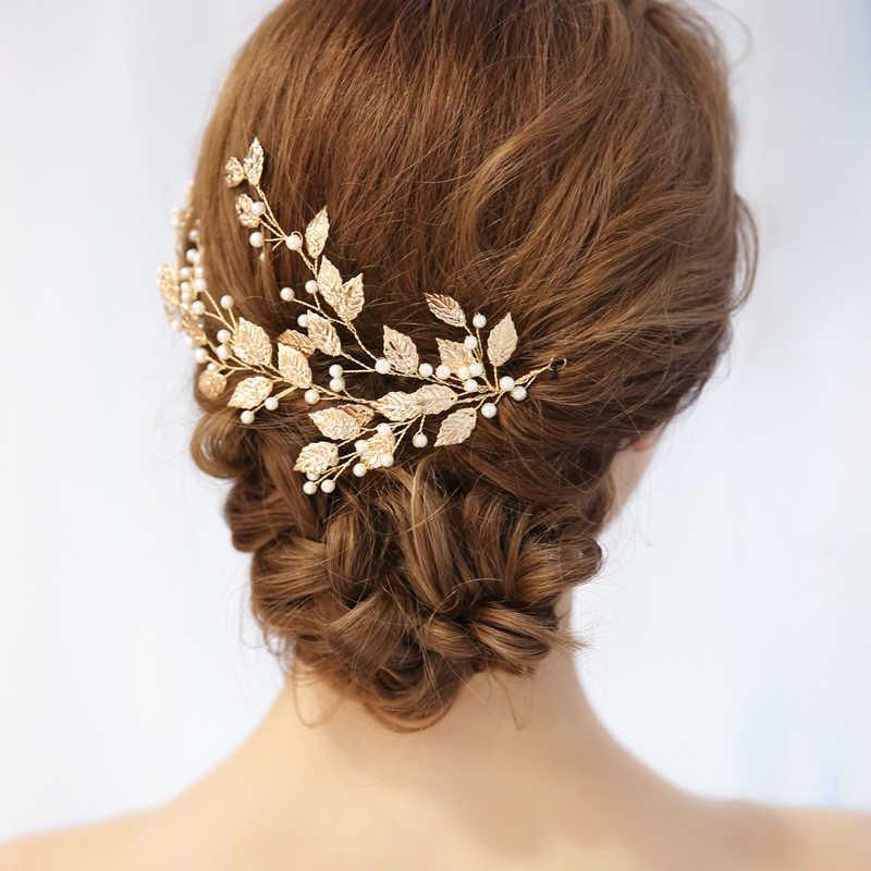 Feuille d'or tiare branche mariage cheveux accessoires perles bandeau mariée bandeau cheveux vigne fiançailles fête