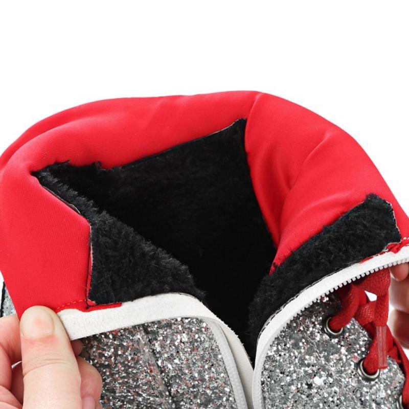 Plate Taille Hiver Sequins Wedge Lady black Cheville Chaud Zipper Sequins Kaizikarzi Femme Automne silver forme Femmes rouge Chaussures Noir Talons 3439 Bottes SpGUzVqM