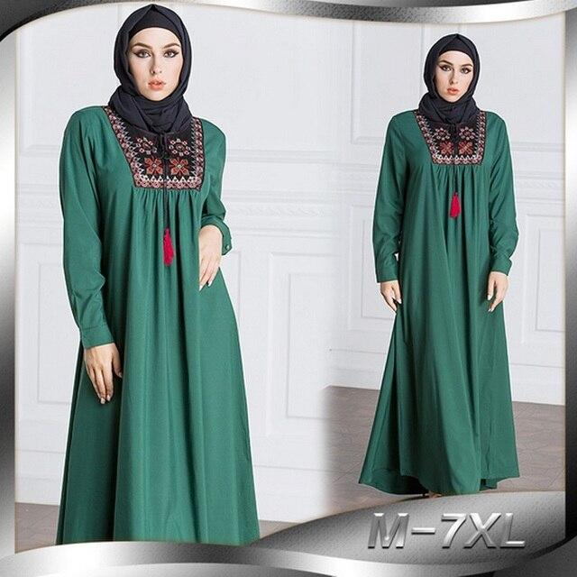 Elegant Maxi Dress Abaya Embroidery Plus Size Muslim Long Robe Gowns ...