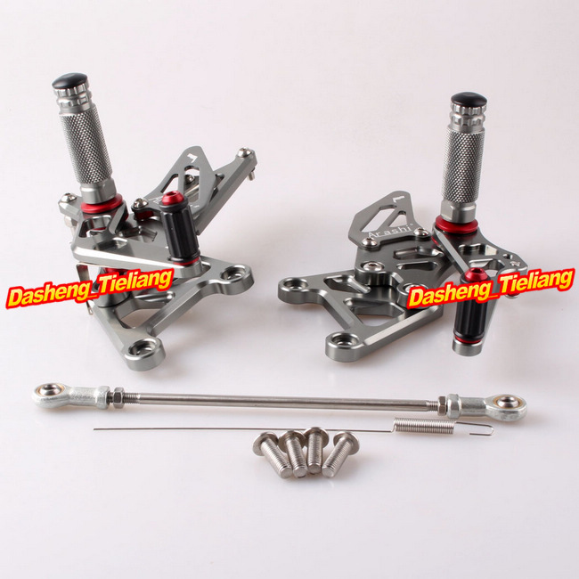 Arashi Rearset Footrest Foot Pegs For Honda CBR 250RR 2010 2011 2012 2013 2014 Adjustable CNC Alumium Alloy, Grey