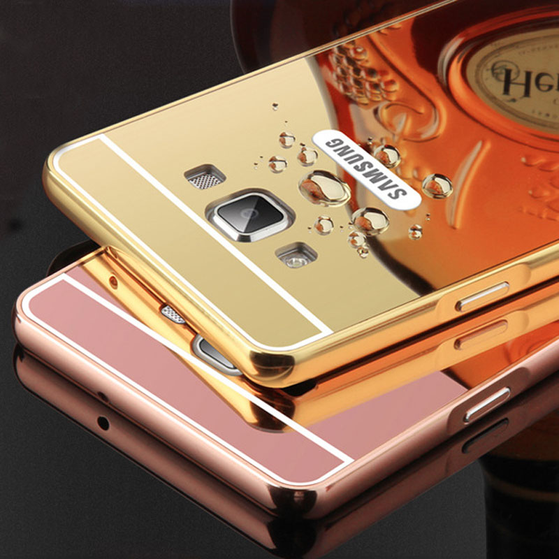 For Samsung Galaxy J7 2016 Case Hard Metal Aluminum Frame Acrylic Mirror Back Cover Coque For Samsung J7 2016 Cover Hybrid Case