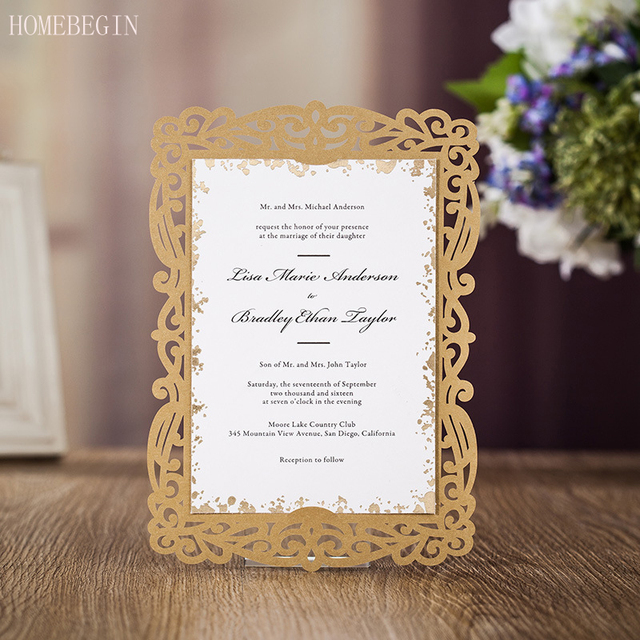 50pcs gold laser cut wedding invitation card greeting card