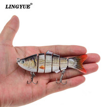 LINGYUE 1PCS Fishing Wobblers Artificial Quality Lifelike Fishing Lures 10cm/19g 6 Segment Swimbait Hard Baits Crankbait Hooks