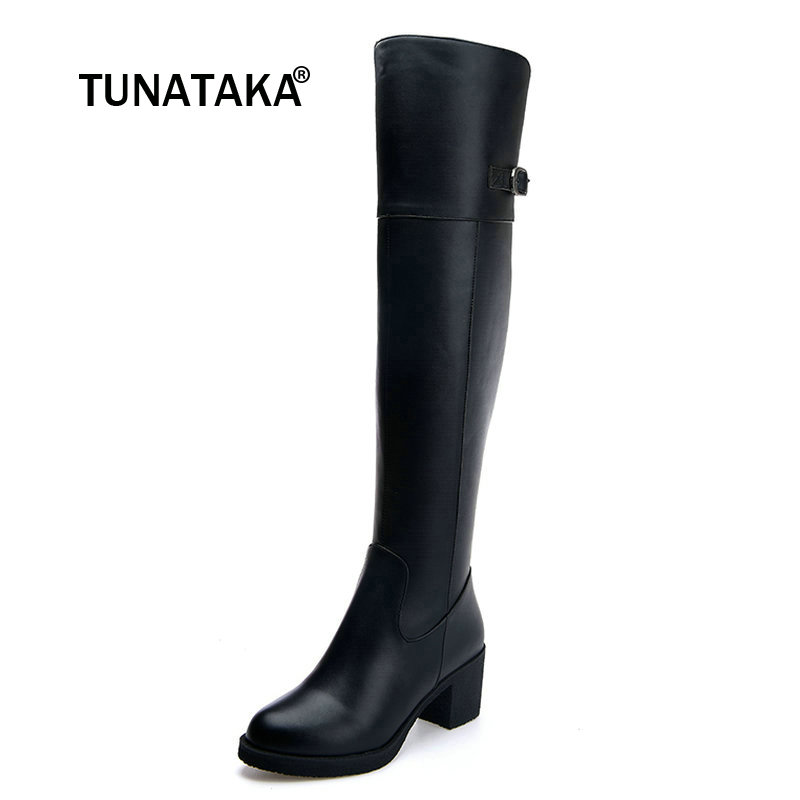 Women Genuine Leather Fashion Buckle Side Zipper Knee High Boots Comfortable Low Heel Winter Shoes Black майка betty barclay майка