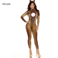 Sexy Adult Fantasia Costume Catwomen Leopard Catsuit Bodysuit Jumpsuit Night Lace Romper Halloween Cosplay Zentai Clubwear