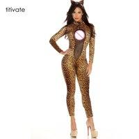 Kostium Dla Dorosłych Sexy Catwomen TITIVATE Lamparta Koronki Romper Halloween Cosplay Zentai Catsuit Body Kombinezon Klubowa