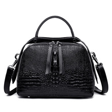 2019 New Women Genuine Leather Handbags Crocodile Pattern Luxury Crossbody Bags for Women Shoulder Bag Top Handle Handbag genuine leather handbag crocodile pattern leather women women s bag european and american fashion handbags rivet shoulder bag