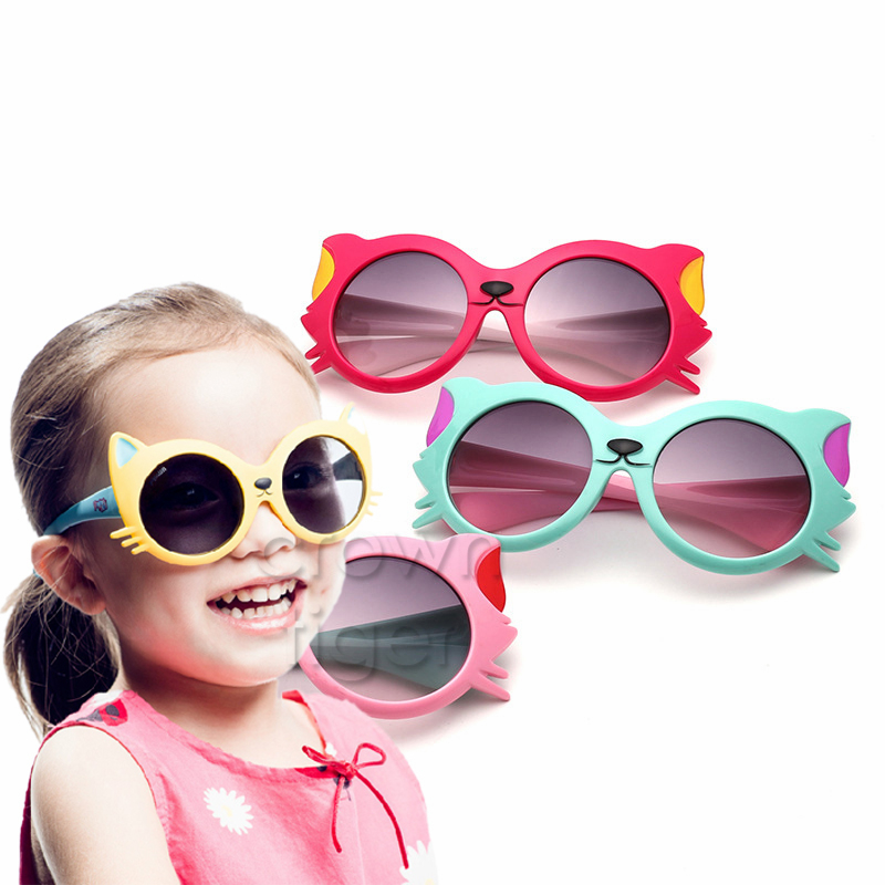 2018 Summer Girls Boy Cartoon Cat Anti UV400 Eyeglasses Toddler Baby Sunglasses Kids Party Outdoor Eyewear Clothes Accessories