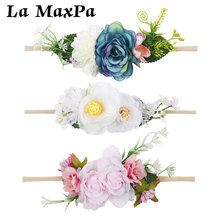 Baby Headband Elastic Flower Floral Headband Girl Newborn Nylon Turban Handmade DIY Toddler Infant Kids Baby Photography Phops baby headband ribbon flower handmade diy toddler kid hair accessories floral girl newborn bows photography turban elastic infant