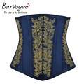 Burvogue Women Embroidery Gothic Steampunk Corset Satin Underbust Steel Bones Corset Waist Control Cincher Corselet