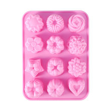 Lucu 1 Pcs 12 Bunga Cetakan Silicone Ice Cube Chocolate Cake Cookie Cupcake Sabun Cetakan(China)