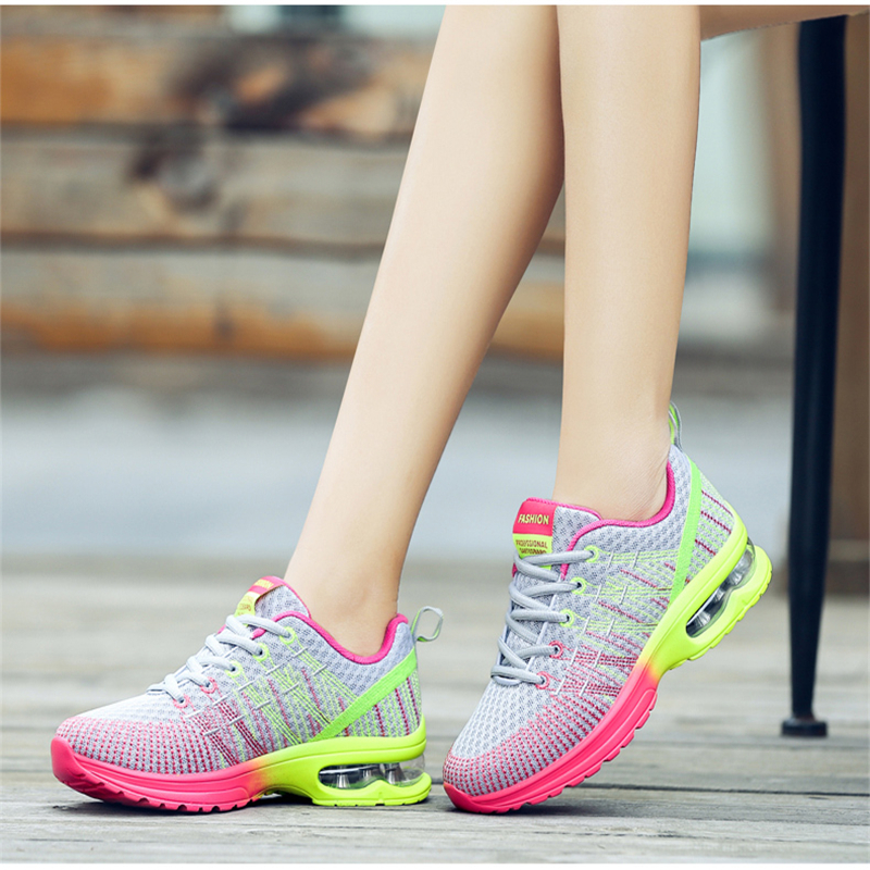 Female Air Cushion Shoes Breathable Mesh Fashion Casual Shoes Sneakers for Woman 2018 Summer Outdoor Flat Shoes Tenis Feminino