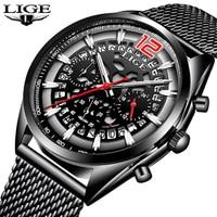 LIGE Для мужчин s часы лучший бренд класса люкс Для Мужчин's Водонепроницаемый военные спортивные часы Для Мужчин's Нержавеющаясталь кварцевы