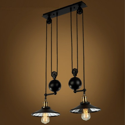 Loft Style Lift Pulley Droplight Edison Vintage Pendant Light Fixtures For Dining Room Scaling Industrial Lamp Lamparas american edison loft style rope retro pendant light fixtures for dining room iron hanging lamp vintage industrial lighting