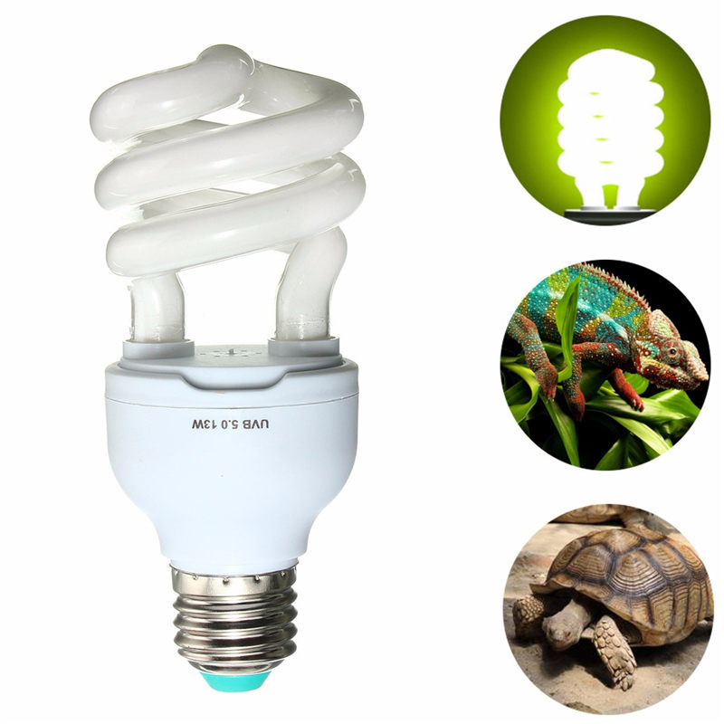 Heat Emitter Ultraviolet Light Bulb E27 5.0 10.0 UVB 13W Pet Reptile Light Glow Lamp Daylight Bulb for Tortoise Fish Amphibians