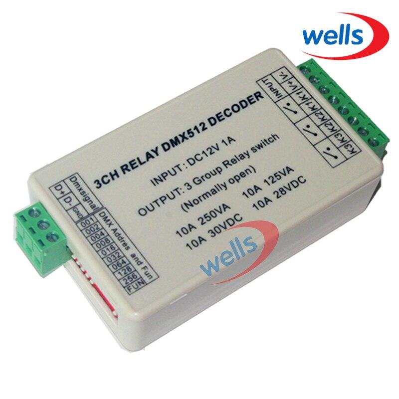 3 CH DMX 512 RELÉ VÝSTUP, 3CH dmx512 ovladač, s pouzdrem, LED DMX512 dekodér, reléový přepínač, max. 10A