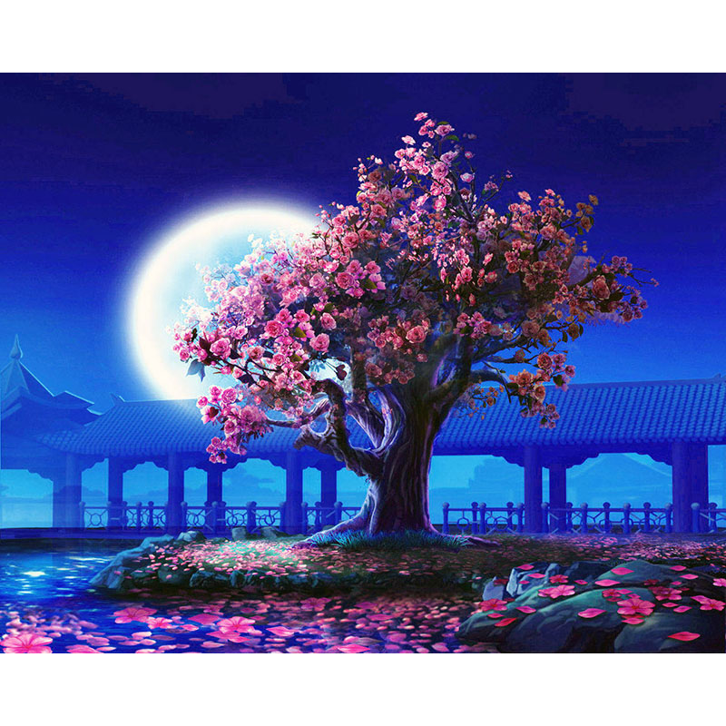 Painting By Numbers DIY Dropshipping 50x65 60x75cm Peach Blossom Court Scenery Canvas Wedding Decoration Art Picture Gift