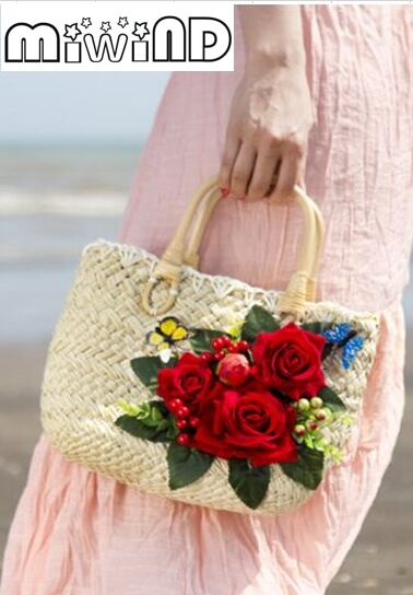 b3d507f314bde0 Miwind F Rose Flower applique handmade woven straw tote bag, fashion  knitted summer new women's Beach vacation travel handbag-in Top-Handle Bags  from ...