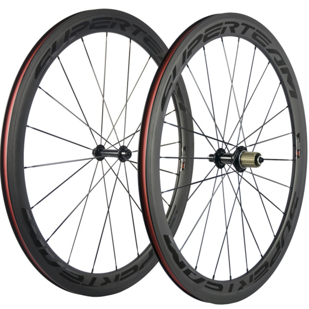 Superteam Carbon Wheels Factory Sales 50mm Road Bike Wheelset Clincher with Black decal High TG Brake Surface