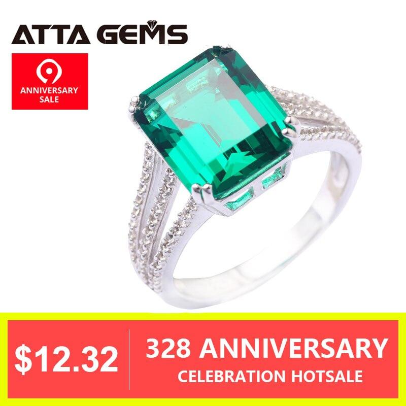 Зеленый Изумрудный кольцо из стерлингового серебра 925 6 карат ИЗУМРУД Solid Silver Для женщин Классическая Стиль Мода и популярное серебряное кол...