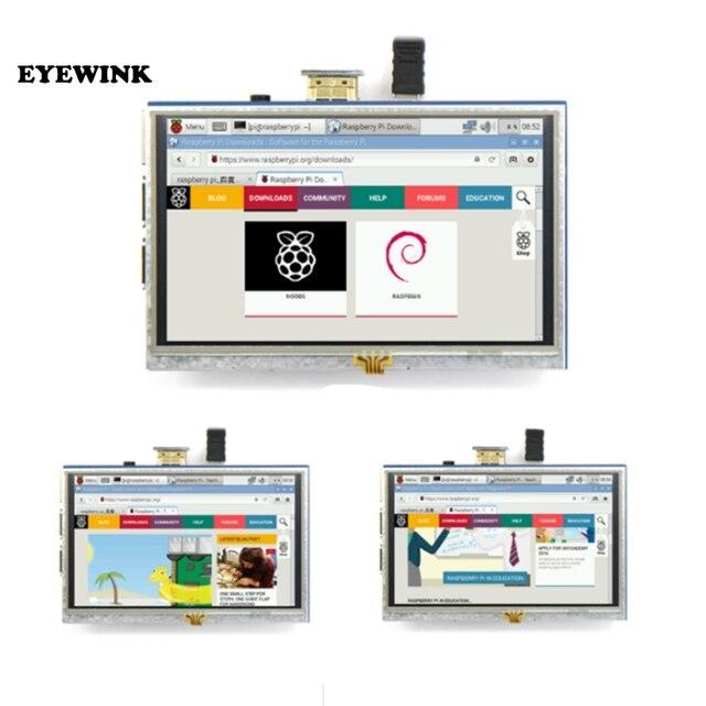 Module LCD 5.0 pouces Pi TFT 5 pouces écran tactile résistif 5.0 pouces écran LCD bouclier module HDMI interface pour framboise Pi 3 A +/B +/2B