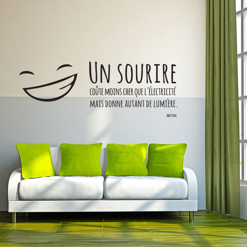 Stickers French Quotes Un Sourire Vinyl Wall Decals Murals removable Wall Art for Kids Living Room Home Decor House Decoration serok ikan