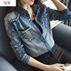 2017 New Water Washed Denim Shirt Female Long Sleeve Loose Shirt Vintage All Match Preppy Style