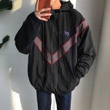 Весной 2017 новый подросток личности геометрия подбора цвета куртка с капюшоном серый/черный мешок почты свободные хорошее качество куртка