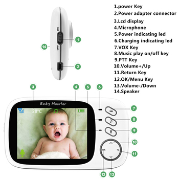VB603 Wireless Video Color Baby Monitor with 3.2Inches LCD 2 Way Audio Talk Night Vision Surveillance Security Camera Babysitter 4