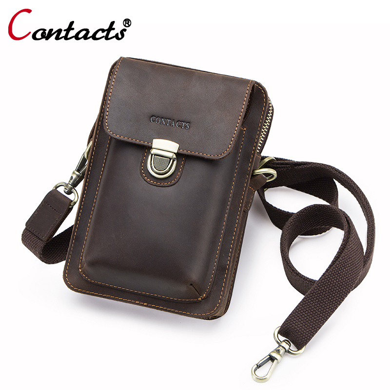 CONTACT'S Genuine Leather Handbags Men Bags Designer Crossbody Bags For Men Famous Brand Man Handbags 2018 Men Messenger Bags