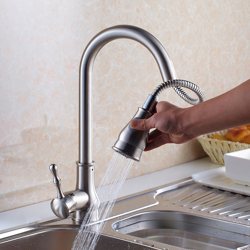 Gold Kitchen Faucet Pull Out Brass Kitchen Tap Single Handle Spray ...